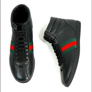 GUCCI -Red & Green Logo Stripe High Top Black